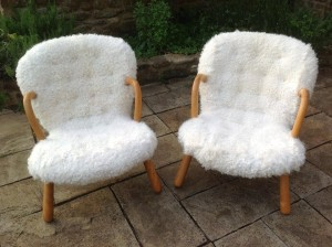 1950s Arctander Clam Chairs covered in rabbit fur for Rose Uniacke.