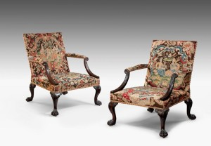 George II library armchair upholstered in silk gauffrage for Thomas Coulborn & Sons.